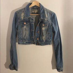 YMI Distressed and Cropped Denim Jacket
